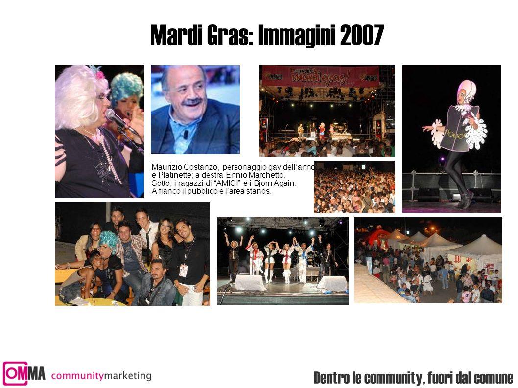 Dentro le community, fuori dal comune Mardi Gras: Immagini 2007 Maurizio Costanzo, personaggio gay dell'anno e Platinette; a destra Ennio Marchetto. S