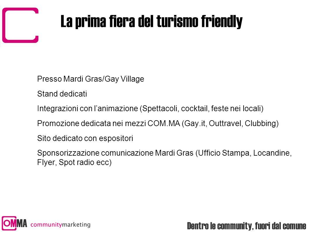 Dentro le community, fuori dal comune La prima fiera del turismo friendly Presso Mardi Gras/Gay Village Stand dedicati Integrazioni con l'animazione (