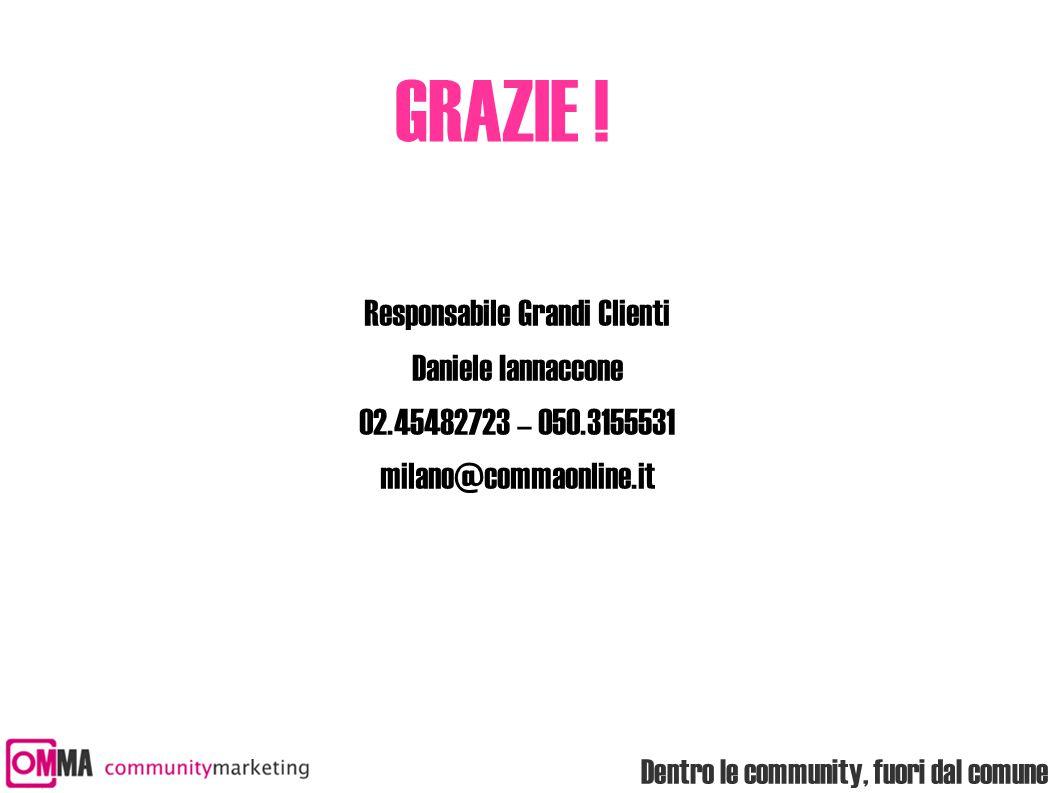 Dentro le community, fuori dal comune GRAZIE ! Responsabile Grandi Clienti Daniele Iannaccone 02.45482723 – 050.3155531 milano@commaonline.it