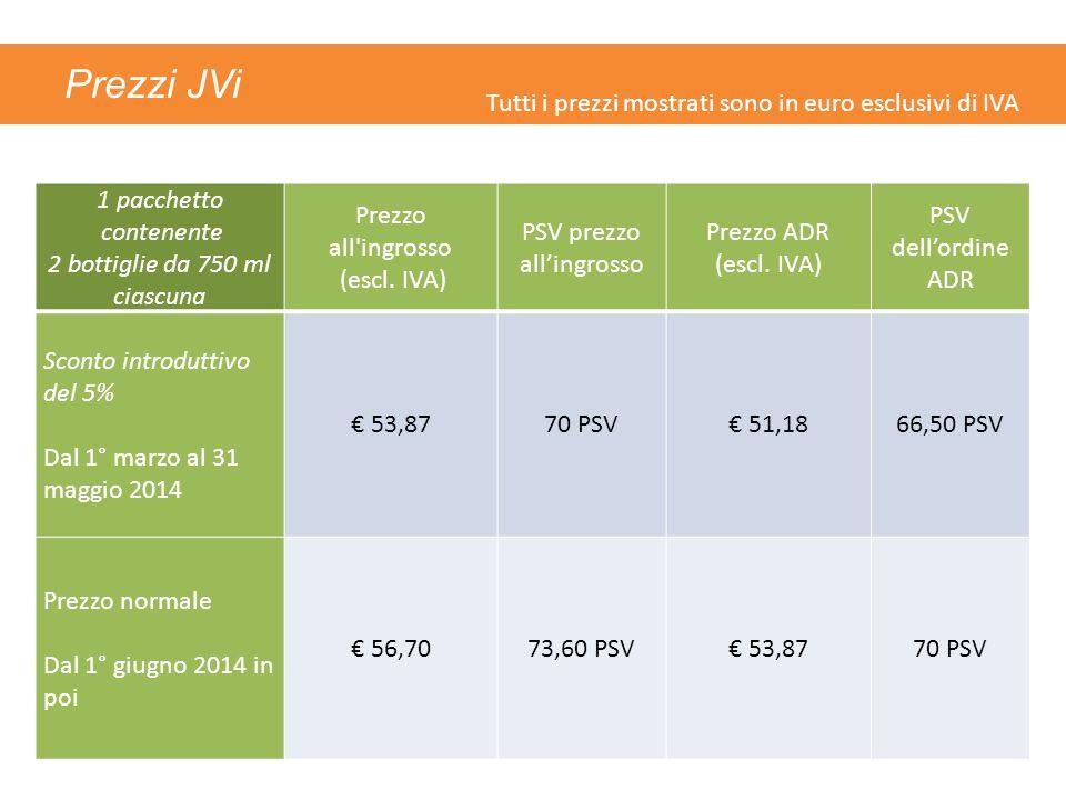 Prezzi JVi 1 pacchetto contenente 2 bottiglie da 750 ml ciascuna Prezzo all'ingrosso (escl. IVA) PSV prezzo all'ingrosso Prezzo ADR (escl. IVA) PSV de