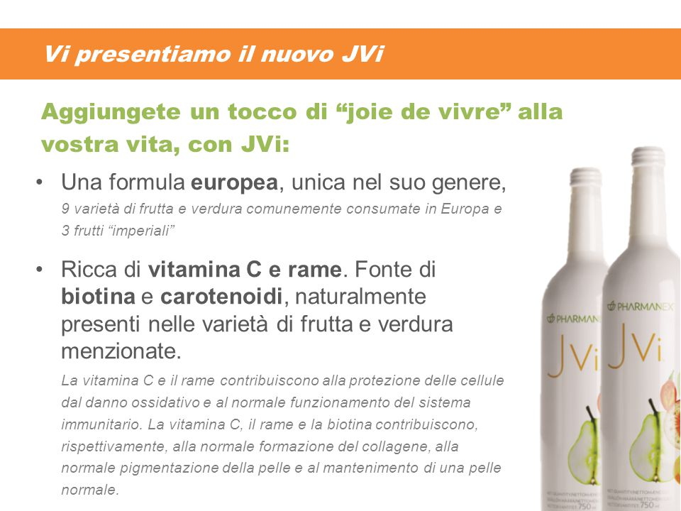 """Vi presentiamo il nuovo JVi Una formula europea, unica nel suo genere, 9 varietà di frutta e verdura comunemente consumate in Europa e 3 frutti """"imper"""