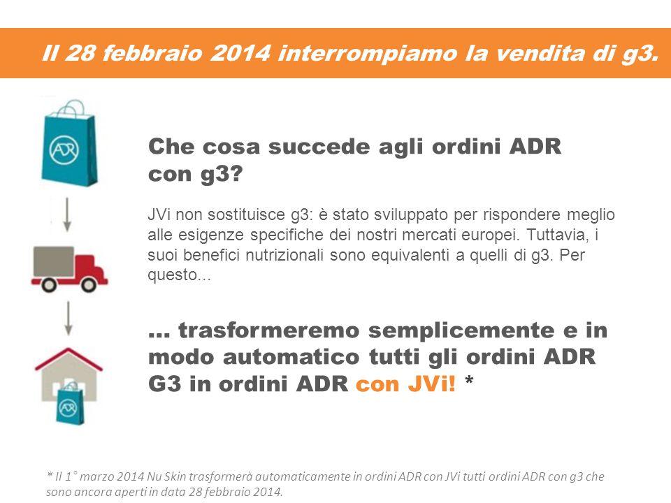 Il 28 febbraio 2014 interrompiamo la vendita di g3. Che cosa succede agli ordini ADR con g3? JVi non sostituisce g3: è stato sviluppato per rispondere