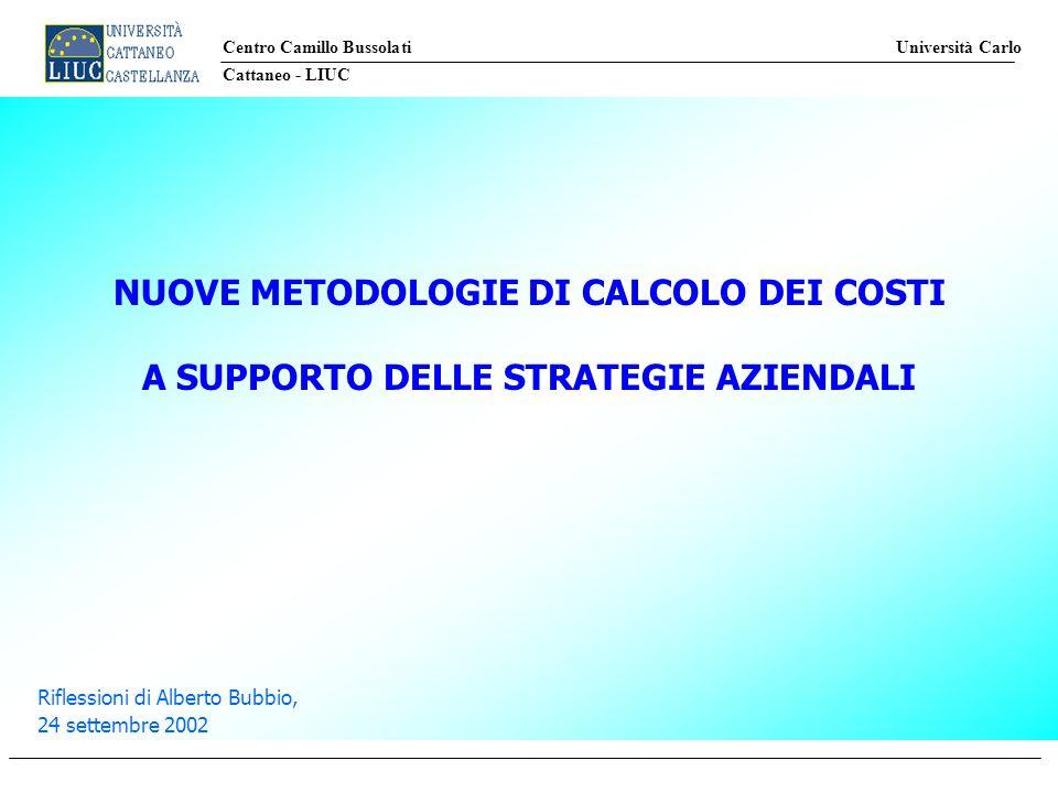 Centro Camillo Bussolati Università Carlo Cattaneo - LIUC Riflessioni di Alberto Bubbio, 24 settembre 2002 NUOVE METODOLOGIE DI CALCOLO DEI COSTI A SUPPORTO DELLE STRATEGIE AZIENDALI