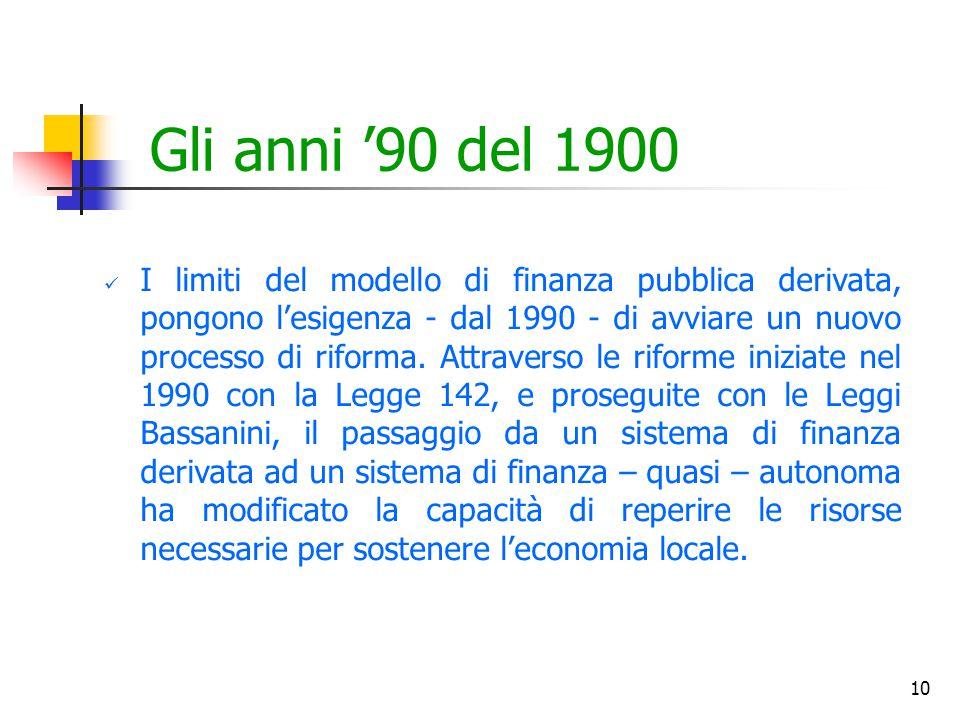 10 Gli anni '90 del 1900 I limiti del modello di finanza pubblica derivata, pongono l'esigenza - dal 1990 - di avviare un nuovo processo di riforma. A
