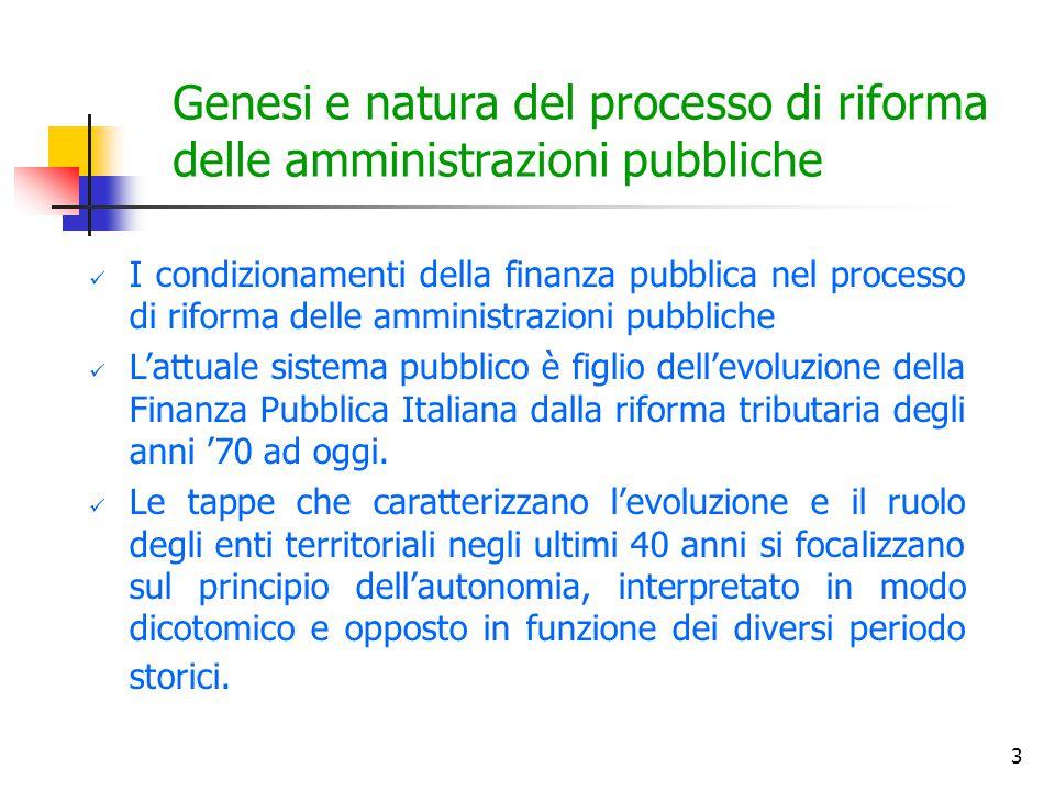 3 Genesi e natura del processo di riforma delle amministrazioni pubbliche I condizionamenti della finanza pubblica nel processo di riforma delle ammin