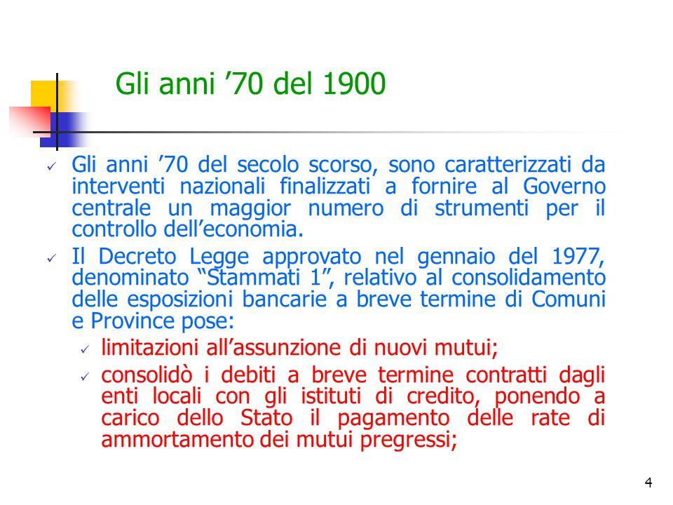 4 Gli anni '70 del 1900 Gli anni '70 del secolo scorso, sono caratterizzati da interventi nazionali finalizzati a fornire al Governo centrale un maggior numero di strumenti per il controllo dell'economia.