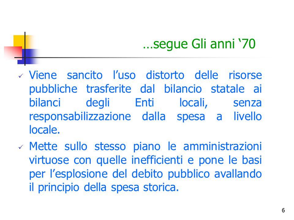 6 …segue Gli anni '70 Viene sancito l'uso distorto delle risorse pubbliche trasferite dal bilancio statale ai bilanci degli Enti locali, senza respons