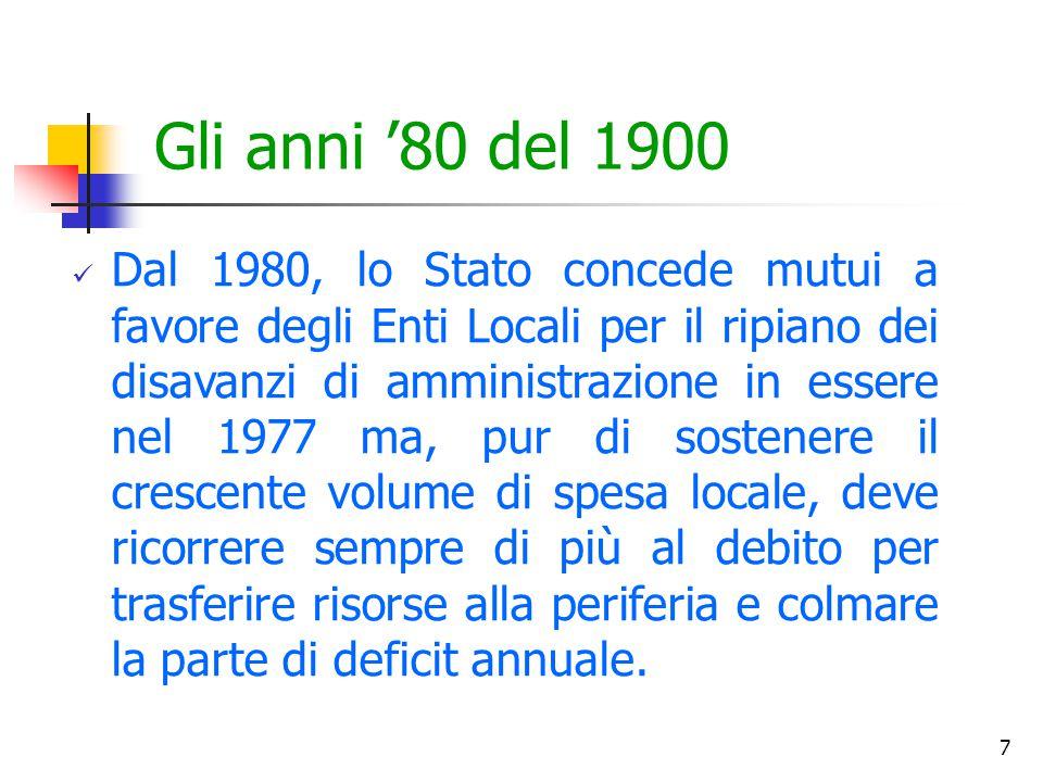 7 Gli anni '80 del 1900 Dal 1980, lo Stato concede mutui a favore degli Enti Locali per il ripiano dei disavanzi di amministrazione in essere nel 1977