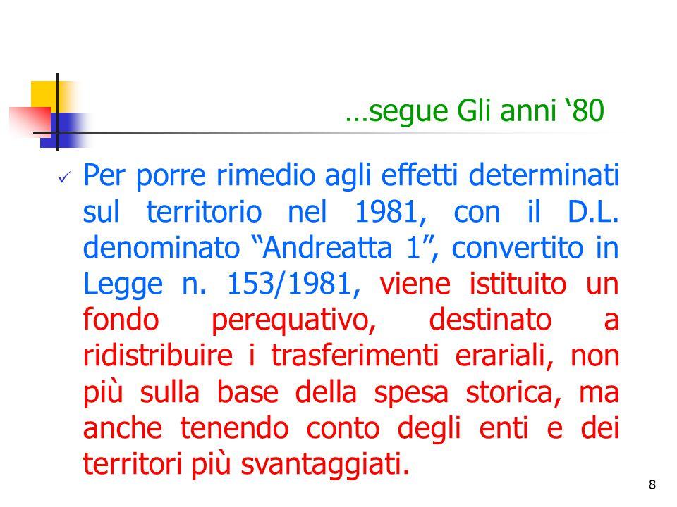 """8 …segue Gli anni '80 Per porre rimedio agli effetti determinati sul territorio nel 1981, con il D.L. denominato """"Andreatta 1"""", convertito in Legge n."""