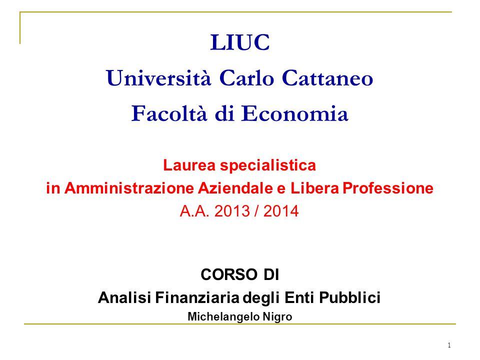 1 LIUC Università Carlo Cattaneo Facoltà di Economia Laurea specialistica in Amministrazione Aziendale e Libera Professione A.A. 2013 / 2014 CORSO DI