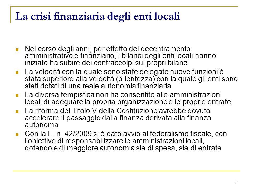 La crisi finanziaria degli enti locali Nel corso degli anni, per effetto del decentramento amministrativo e finanziario, i bilanci degli enti locali h