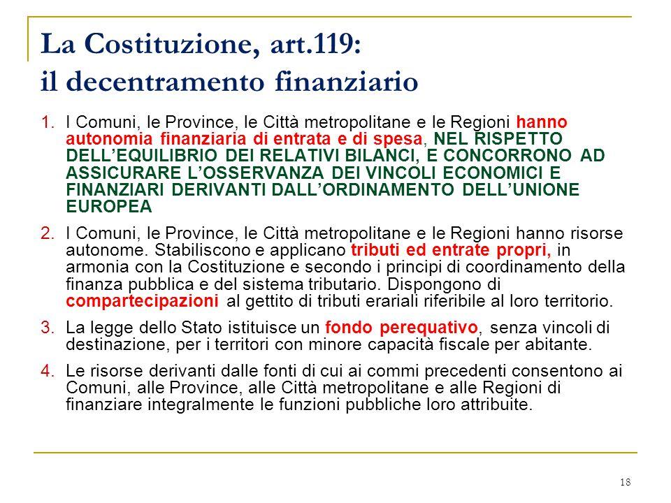 18 La Costituzione, art.119: il decentramento finanziario 1.I Comuni, le Province, le Città metropolitane e le Regioni hanno autonomia finanziaria di entrata e di spesa, NEL RISPETTO DELL'EQUILIBRIO DEI RELATIVI BILANCI, E CONCORRONO AD ASSICURARE L'OSSERVANZA DEI VINCOLI ECONOMICI E FINANZIARI DERIVANTI DALL'ORDINAMENTO DELL'UNIONE EUROPEA 2.I Comuni, le Province, le Città metropolitane e le Regioni hanno risorse autonome.