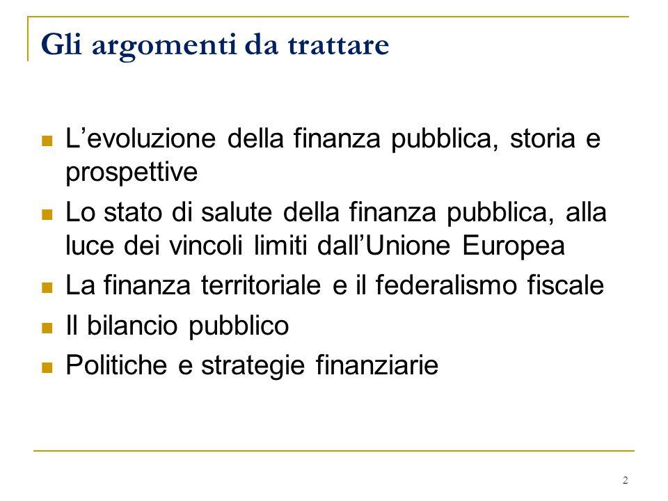 Gli argomenti da trattare L'evoluzione della finanza pubblica, storia e prospettive Lo stato di salute della finanza pubblica, alla luce dei vincoli limiti dall'Unione Europea La finanza territoriale e il federalismo fiscale Il bilancio pubblico Politiche e strategie finanziarie 2