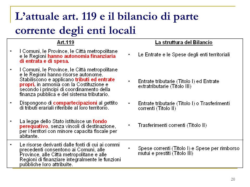 20 L'attuale art. 119 e il bilancio di parte corrente degli enti locali