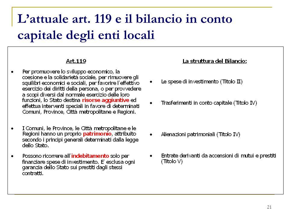 21 L'attuale art. 119 e il bilancio in conto capitale degli enti locali