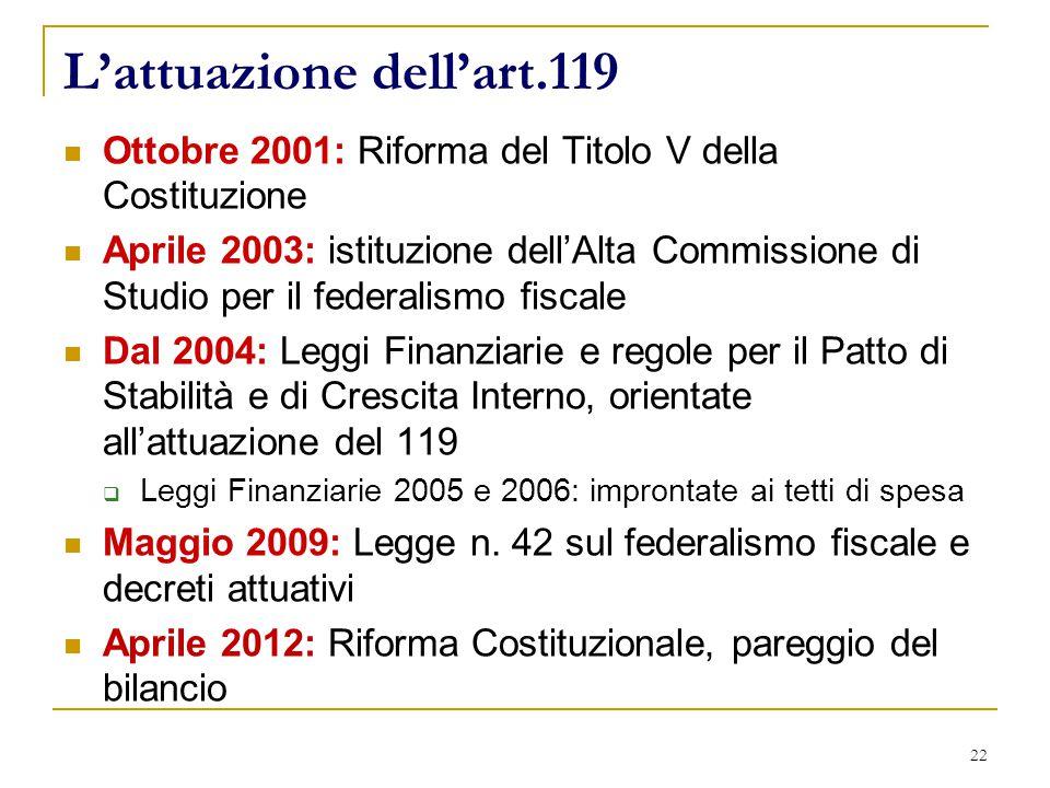 22 L'attuazione dell'art.119 Ottobre 2001: Riforma del Titolo V della Costituzione Aprile 2003: istituzione dell'Alta Commissione di Studio per il federalismo fiscale Dal 2004: Leggi Finanziarie e regole per il Patto di Stabilità e di Crescita Interno, orientate all'attuazione del 119  Leggi Finanziarie 2005 e 2006: improntate ai tetti di spesa Maggio 2009: Legge n.