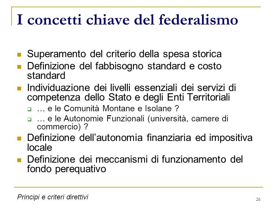 26 I concetti chiave del federalismo Superamento del criterio della spesa storica Definizione del fabbisogno standard e costo standard Individuazione dei livelli essenziali dei servizi di competenza dello Stato e degli Enti Territoriali  … e le Comunità Montane e Isolane .