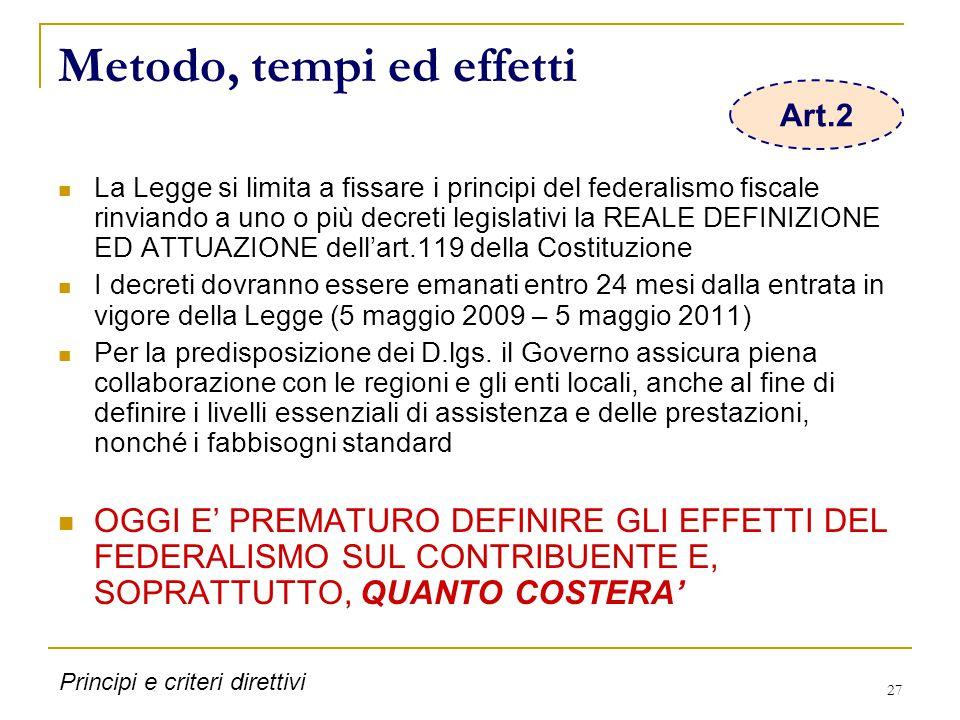 27 Metodo, tempi ed effetti La Legge si limita a fissare i principi del federalismo fiscale rinviando a uno o più decreti legislativi la REALE DEFINIZIONE ED ATTUAZIONE dell'art.119 della Costituzione I decreti dovranno essere emanati entro 24 mesi dalla entrata in vigore della Legge (5 maggio 2009 – 5 maggio 2011) Per la predisposizione dei D.lgs.