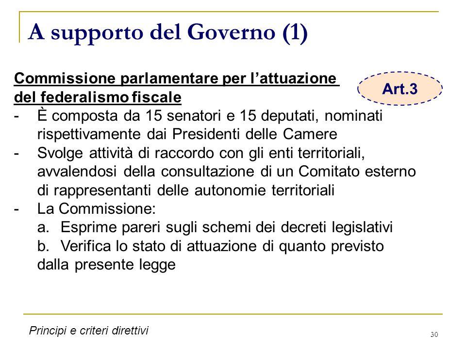 30 A supporto del Governo (1) Commissione parlamentare per l'attuazione del federalismo fiscale -È composta da 15 senatori e 15 deputati, nominati ris