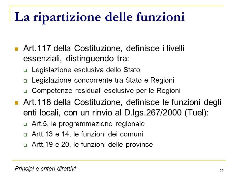 33 La ripartizione delle funzioni Art.117 della Costituzione, definisce i livelli essenziali, distinguendo tra:  Legislazione esclusiva dello Stato  Legislazione concorrente tra Stato e Regioni  Competenze residuali esclusive per le Regioni Art.118 della Costituzione, definisce le funzioni degli enti locali, con un rinvio al D.lgs.267/2000 (Tuel):  Art.5, la programmazione regionale  Artt.13 e 14, le funzioni dei comuni  Artt.19 e 20, le funzioni delle province Principi e criteri direttivi
