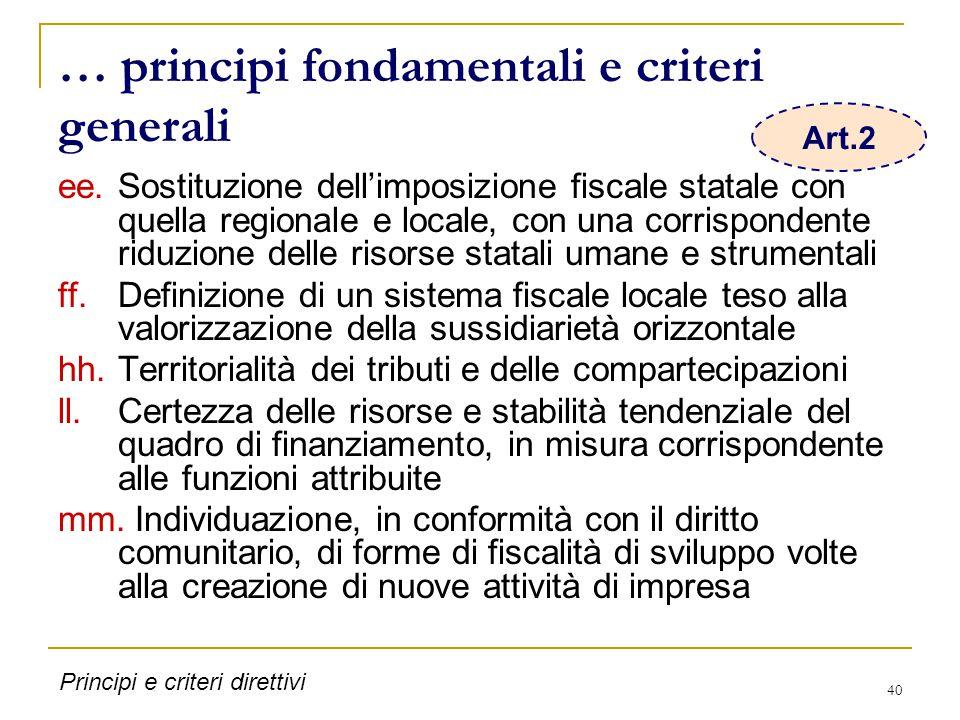 40 … principi fondamentali e criteri generali ee.Sostituzione dell'imposizione fiscale statale con quella regionale e locale, con una corrispondente r