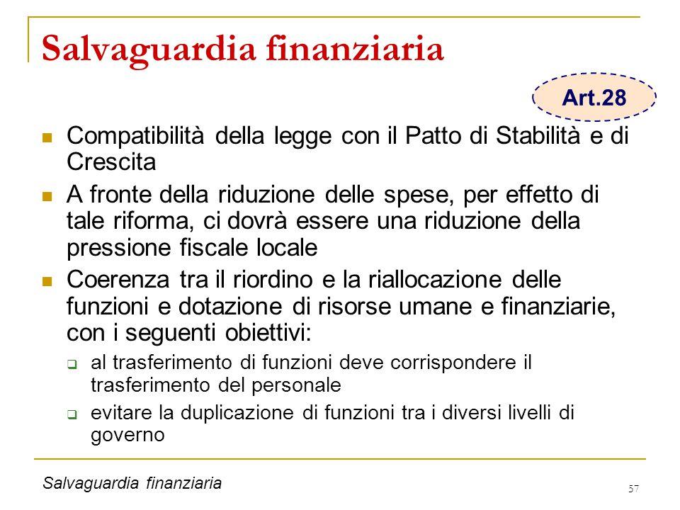 57 Salvaguardia finanziaria Compatibilità della legge con il Patto di Stabilità e di Crescita A fronte della riduzione delle spese, per effetto di tal