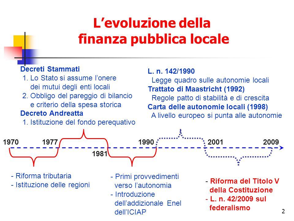 2 L'evoluzione della finanza pubblica locale 19701977 - Riforma tributaria - Istituzione delle regioni 1981 Decreti Stammati 1.