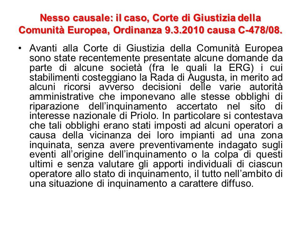 Nesso causale: il caso, Corte di Giustizia della Comunità Europea, Ordinanza 9.3.2010 causa C-478/08.