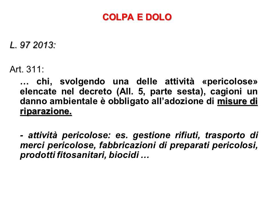 COLPA E DOLO L.97 2013: Art. 311: misure di riparazione.