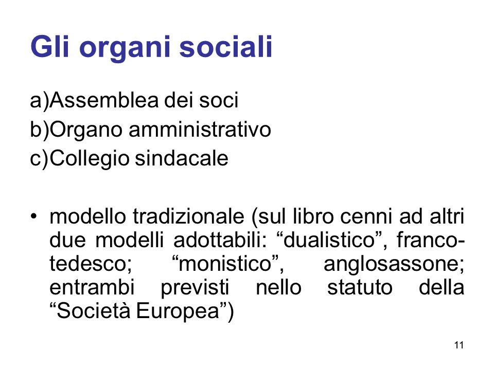 11 Gli organi sociali a)Assemblea dei soci b)Organo amministrativo c)Collegio sindacale modello tradizionale (sul libro cenni ad altri due modelli ado