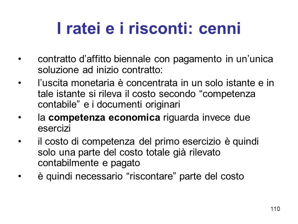 110 I ratei e i risconti: cenni contratto d'affitto biennale con pagamento in un'unica soluzione ad inizio contratto: l'uscita monetaria è concentrata