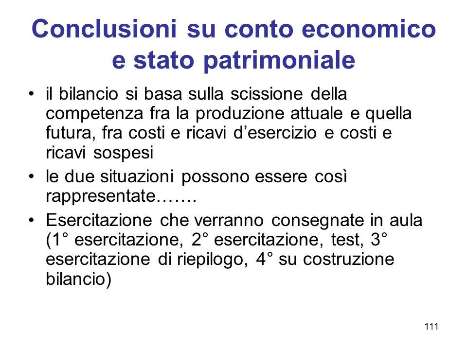 111 Conclusioni su conto economico e stato patrimoniale il bilancio si basa sulla scissione della competenza fra la produzione attuale e quella futura