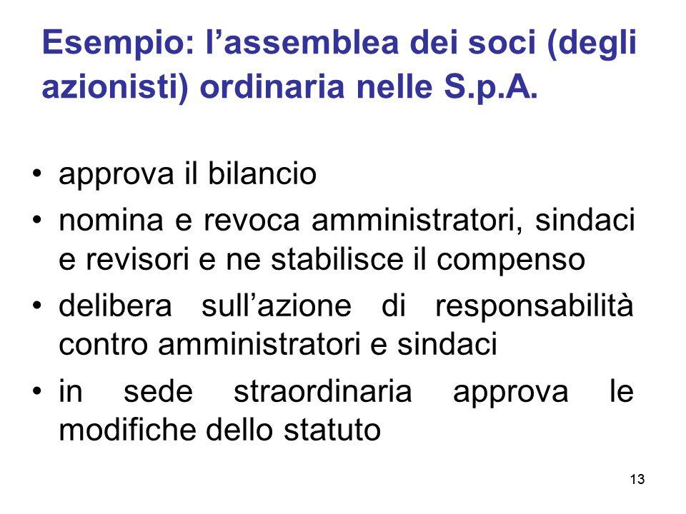 13 Esempio: l'assemblea dei soci (degli azionisti) ordinaria nelle S.p.A. approva il bilancio nomina e revoca amministratori, sindaci e revisori e ne
