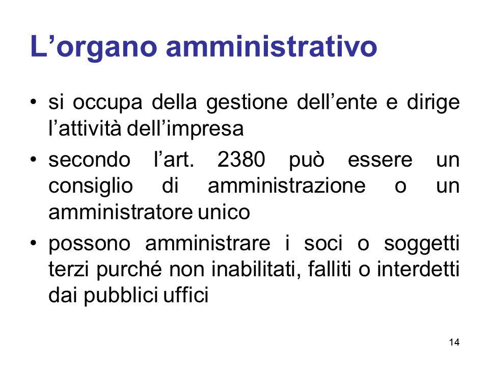 14 L'organo amministrativo si occupa della gestione dell'ente e dirige l'attività dell'impresa secondo l'art. 2380 può essere un consiglio di amminist