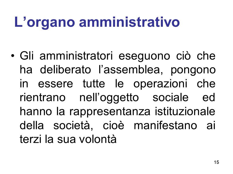 15 L'organo amministrativo Gli amministratori eseguono ciò che ha deliberato l'assemblea, pongono in essere tutte le operazioni che rientrano nell'ogg