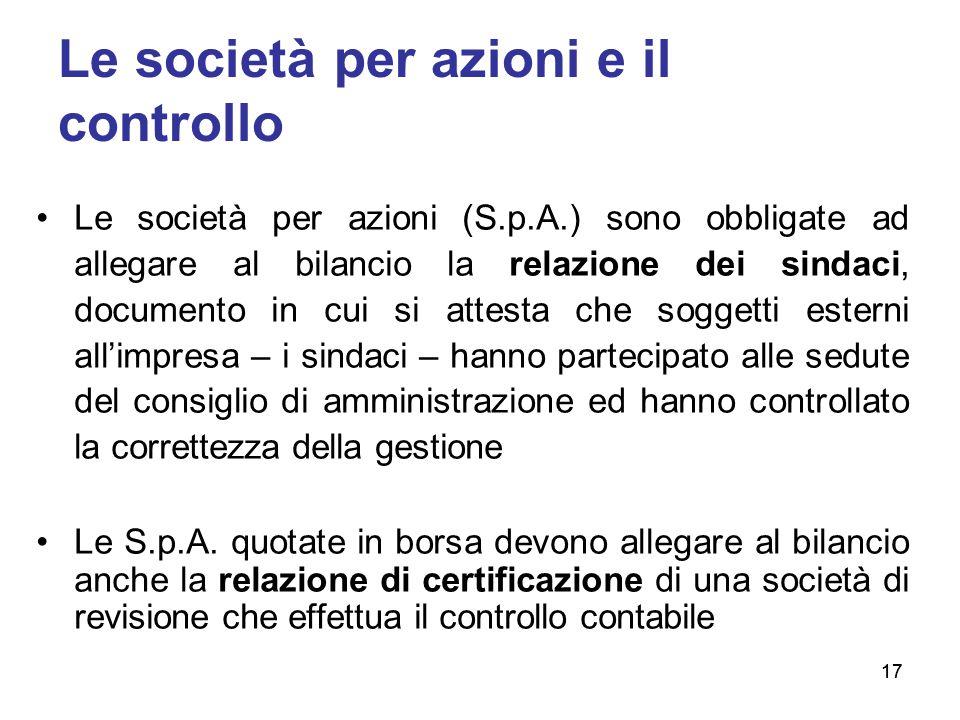 17 Le società per azioni e il controllo Le società per azioni (S.p.A.) sono obbligate ad allegare al bilancio la relazione dei sindaci, documento in c