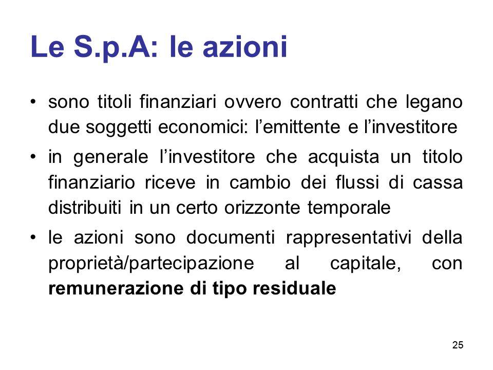 25 Le S.p.A: le azioni sono titoli finanziari ovvero contratti che legano due soggetti economici: l'emittente e l'investitore in generale l'investitor