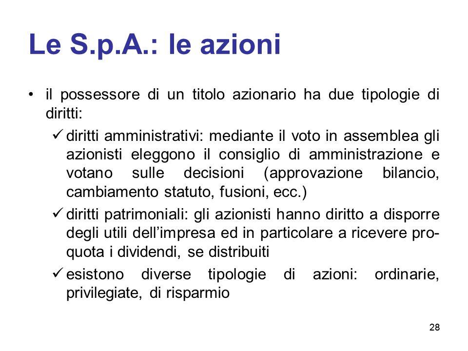 28 Le S.p.A.: le azioni il possessore di un titolo azionario ha due tipologie di diritti: diritti amministrativi: mediante il voto in assemblea gli az