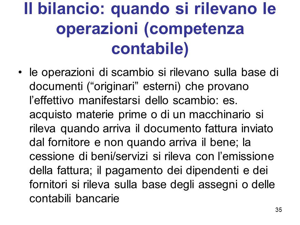 """35 Il bilancio: quando si rilevano le operazioni (competenza contabile) le operazioni di scambio si rilevano sulla base di documenti (""""originari"""" este"""