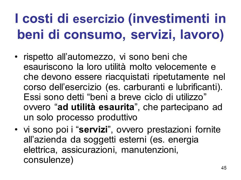 45 I costi di esercizio (investimenti in beni di consumo, servizi, lavoro) rispetto all'automezzo, vi sono beni che esauriscono la loro utilità molto