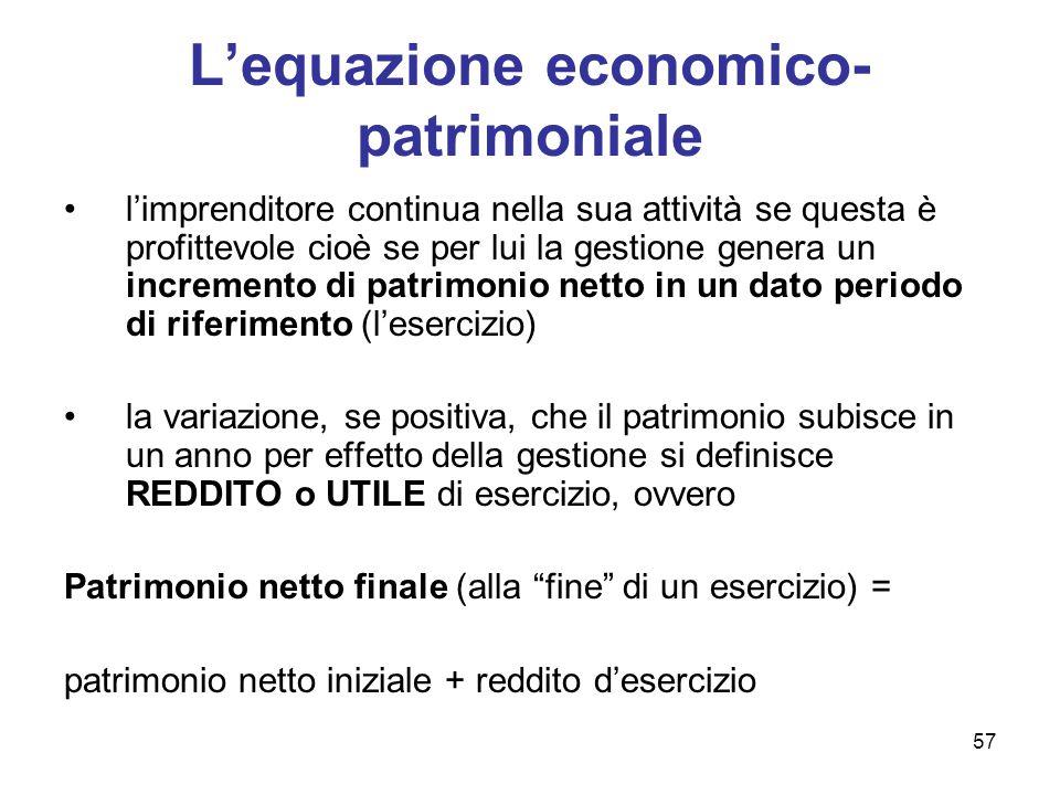 57 L'equazione economico- patrimoniale l'imprenditore continua nella sua attività se questa è profittevole cioè se per lui la gestione genera un incre