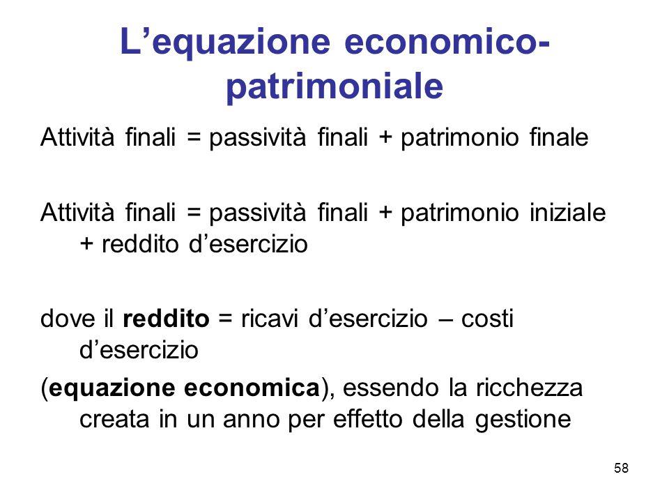 58 L'equazione economico- patrimoniale Attività finali = passività finali + patrimonio finale Attività finali = passività finali + patrimonio iniziale