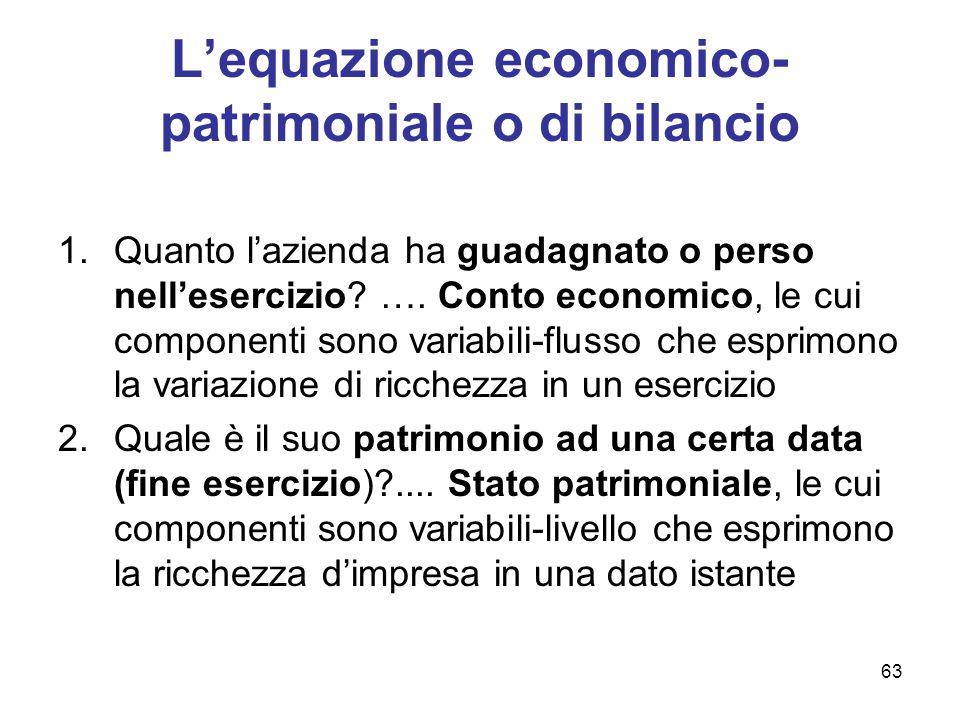 63 L'equazione economico- patrimoniale o di bilancio 1.Quanto l'azienda ha guadagnato o perso nell'esercizio? …. Conto economico, le cui componenti so