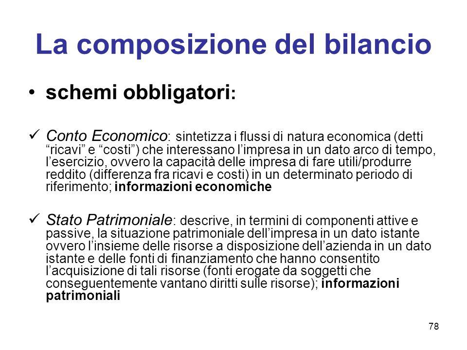 """78 La composizione del bilancio schemi obbligatori : Conto Economico : sintetizza i flussi di natura economica (detti """"ricavi"""" e """"costi"""") che interess"""