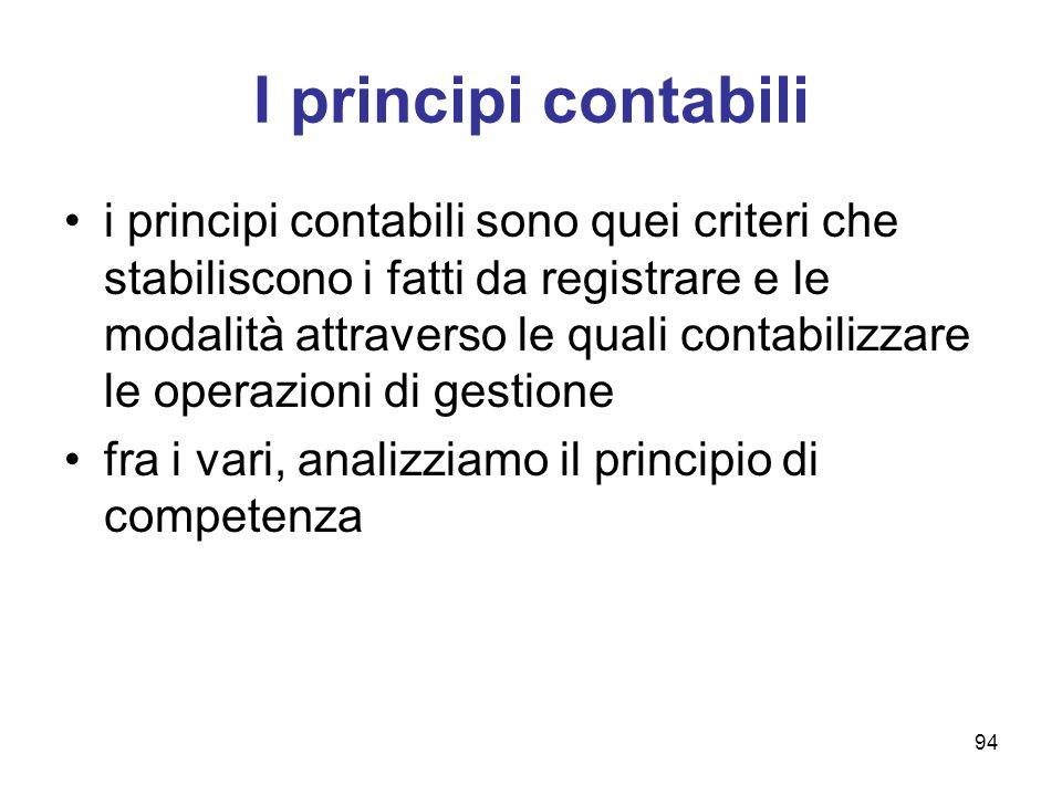 94 I principi contabili i principi contabili sono quei criteri che stabiliscono i fatti da registrare e le modalità attraverso le quali contabilizzare