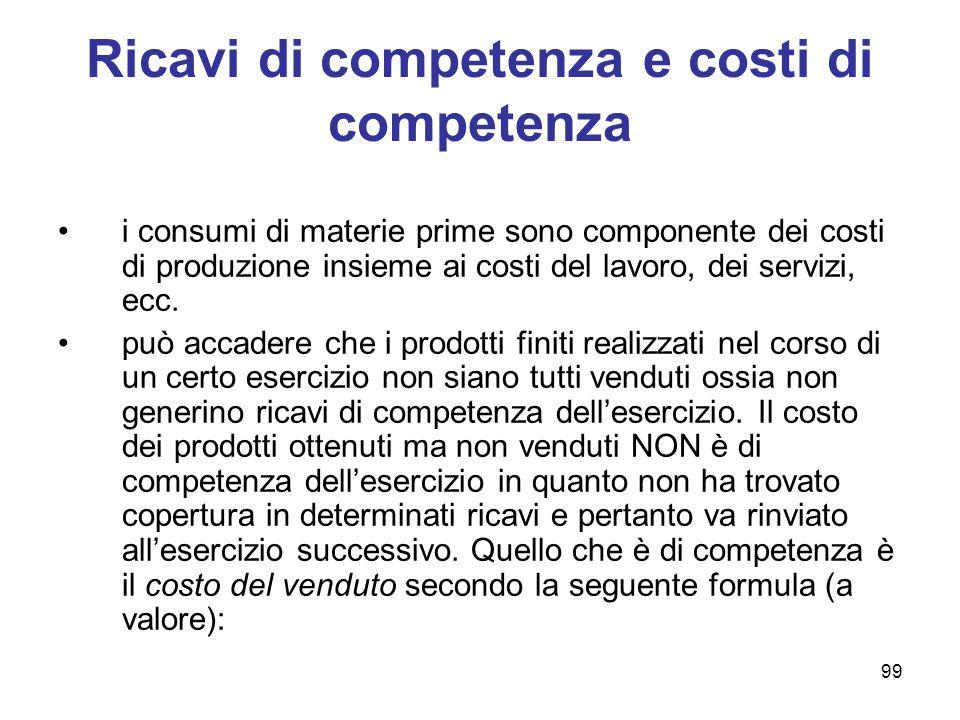 99 Ricavi di competenza e costi di competenza i consumi di materie prime sono componente dei costi di produzione insieme ai costi del lavoro, dei serv