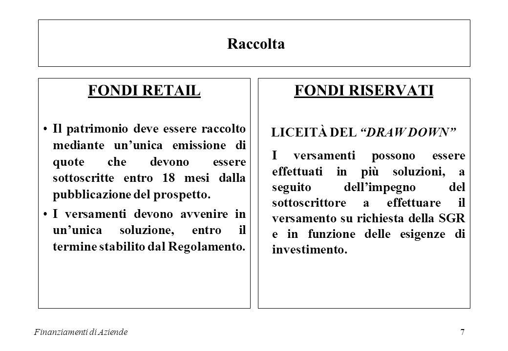 Finanziamenti di Aziende7 FONDI RETAIL Il patrimonio deve essere raccolto mediante un'unica emissione di quote che devono essere sottoscritte entro 18 mesi dalla pubblicazione del prospetto.