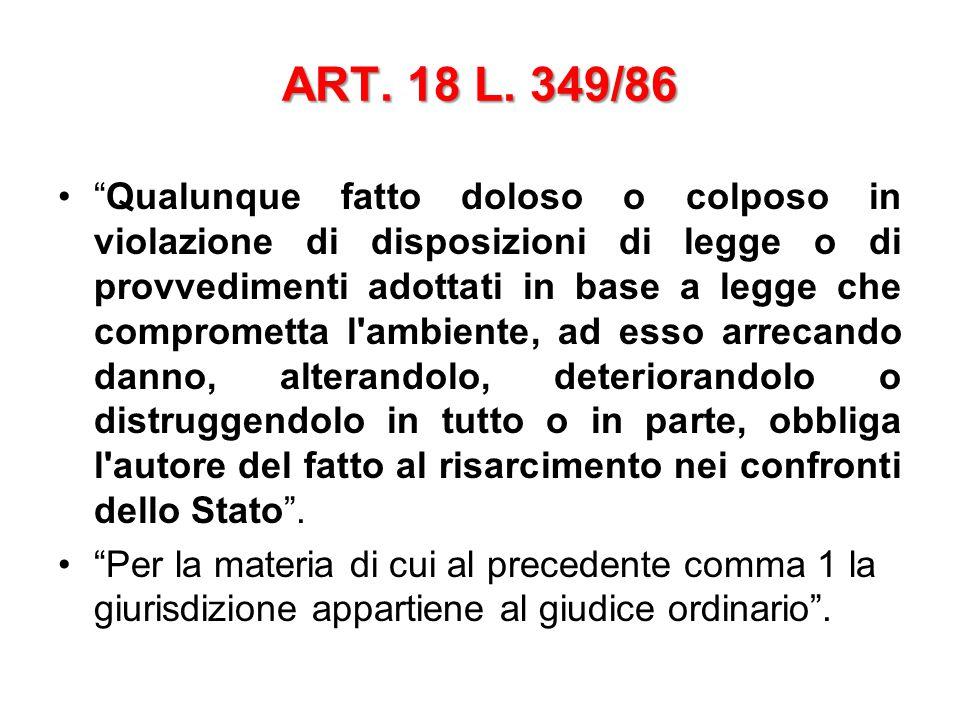 """ART. 18 L. 349/86 """"Qualunque fatto doloso o colposo in violazione di disposizioni di legge o di provvedimenti adottati in base a legge che comprometta"""