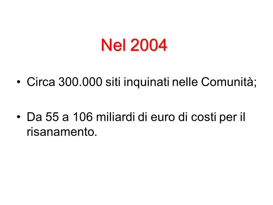 Nel 2004 Circa 300.000 siti inquinati nelle Comunità; Da 55 a 106 miliardi di euro di costi per il risanamento.