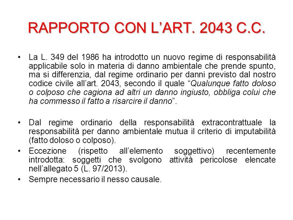 RAPPORTO CON L'ART. 2043 C.C. La L. 349 del 1986 ha introdotto un nuovo regime di responsabilità applicabile solo in materia di danno ambientale che p